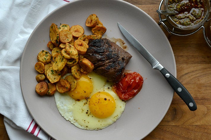 Steak and eggs at Charcoal Venice